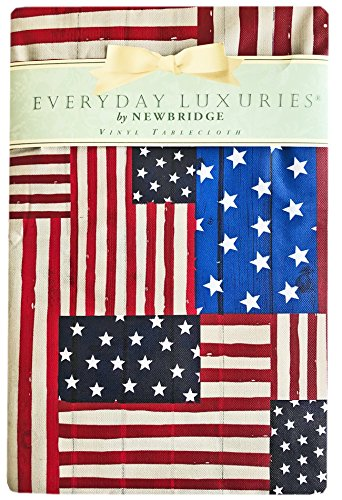 American Flag Collage Patriotic Print Vinyl Flannel Backed Tablecloth, Indoor/Outdoor Tablecloth for Picnic, Barbeque, Patio and Kitchen Dining,, Indoor/Outdoor (52 Inch x 70 Inch Oblong/Rectangle) by Newbridge