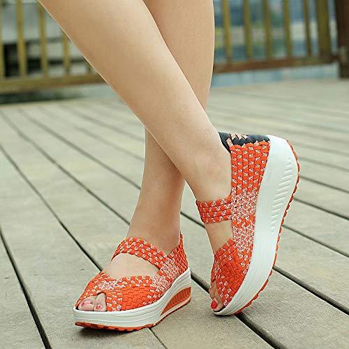 Eu Bout Orange Qiusa 40 Rocker Chaussures Taille Rouge Formateurs Femmes Elastic À Tricoter Sole coloré Ouvert FTwOTxqtZ