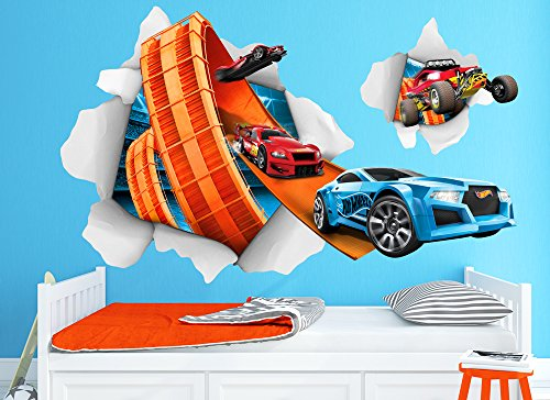 Hot Wheels Large Cars Busting In Wall Decal Set by Wall-Ah! (Image #1)