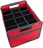 meori Foldable Wine Carrier 12 Bottle Hibiscus Red Carry Case Glasses Vacation Picnic Dinner Party Travel Storage Shopping, Slot