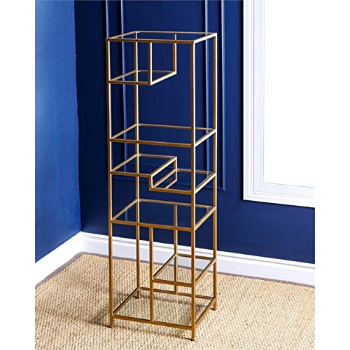 Abbyson Living Ryder Glass Book Shelf in (Glass Walnut Bookcase)