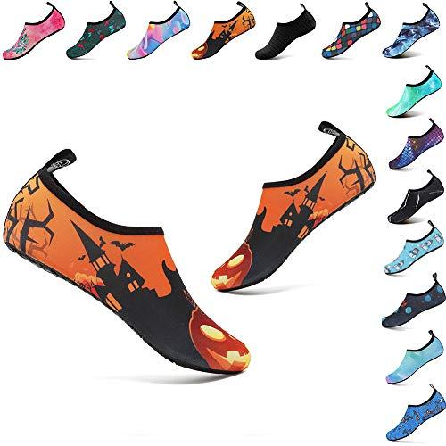 welltree Womens Mens Water Shoes Barefoot Aqua Socks for Outdoor Beach Swim Yoga Exercise Pumpkin Lantern 44/45