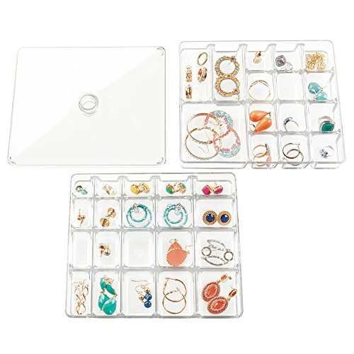 orage Jewelry Box - 2 Organizer Trays with Lid for Drawer or Dresser - Holds Necklaces, Bracelets, Bangles, Rings, Earrings - 40 Compartments in Various Sizes, 3 Pieces - Clear (Charm Watch Free Earrings)