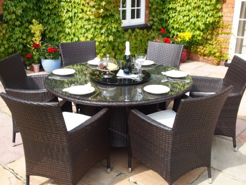 Sidney Grey Rattan Garden or Conservatory Round Dining Table and 6