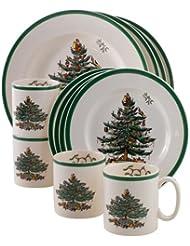 spode christmas tree 12 piece dinnerware set service for 4 - Cheap Christmas Dinnerware Sets