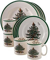 Spode Christmas Tree 12-Piece Dinnerware Set Service for 4  sc 1 st  Amazon.com & Amazon.com: Holiday - Dinnerware Sets / Dining \u0026 Entertaining: Home ...