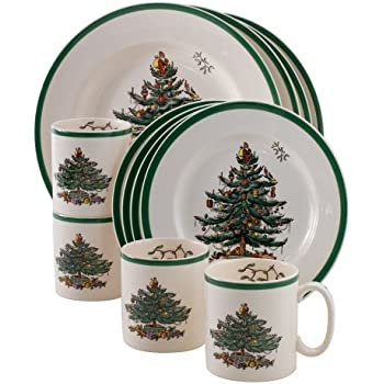 Amazon.com: Gibson Home Tree Trimming 20-Piece Ceramic Dinnerware ...
