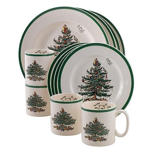 Spode Christmas Tree 12-Piece Dinnerware Set Service for 4  sc 1 st  Amazon.com & Christmas Dishes Plates: Amazon.com