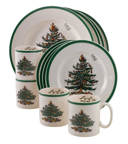 Amazon.com | Spode Christmas Tree 12-Piece Dinnerware Set, Service ...