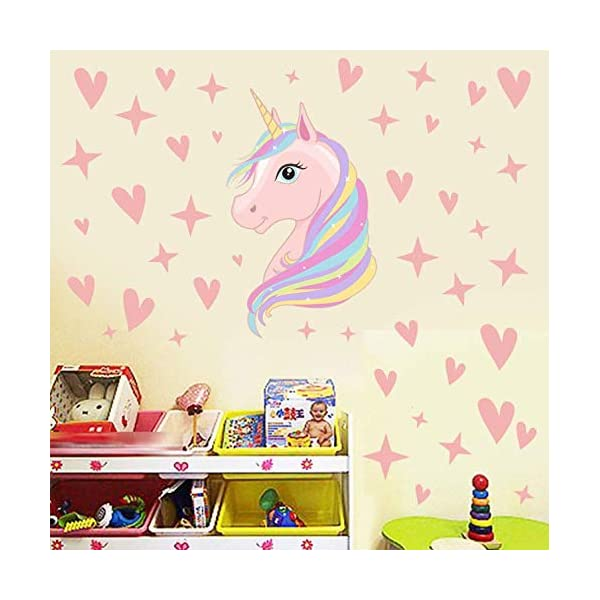 AIYANG Unicorn Wall Decals Stars Love Hearts Wall Stickers for Baby Girls Bedroom Playroom Decoration 5