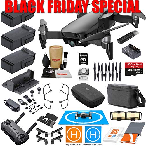 DJI Mavic Air Fly More Combo (Onyx Black) With 3 Batteries, 4K Camera Gimbal Bundle Kit with Must Have Accessories
