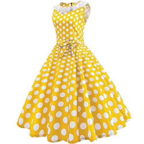 Yellow Isbxn Vestido de Nuevo Onda Punto del de Retro la del Las de Punto la Mujeres Acoplamiento Malla del Retro la de Onda rrBqCw