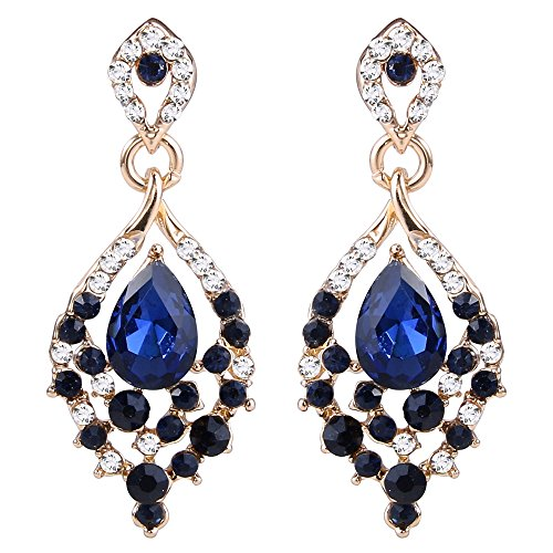 Sapphire Austrian Crystal Earrings (EleQueen Women's Gold-tone Austrian Crystal Teardrop Dangle Chandelier Sparking Earrings Sapphire Color)