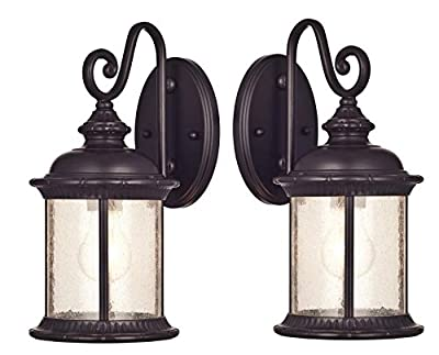 Westinghouse 6732800 Burnham One-Light Exterior Wall Lantern on Steel with Honey Art Glass, Oil Rubbed Bronze Finish