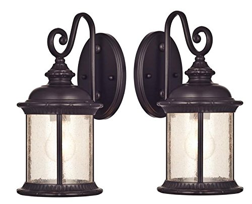 One-Light Exterior Wall Lantern on Steel with Clear Seeded Glass, Oil Rubbed Bronze Finish - Pack of 2 - Rubbed Bronze Lantern