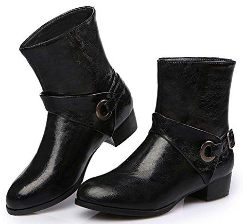 Easemax Women's Sexy Low Block Heel Round Toe Pull On Buckle Short Ankle High Booties Black pyuu02