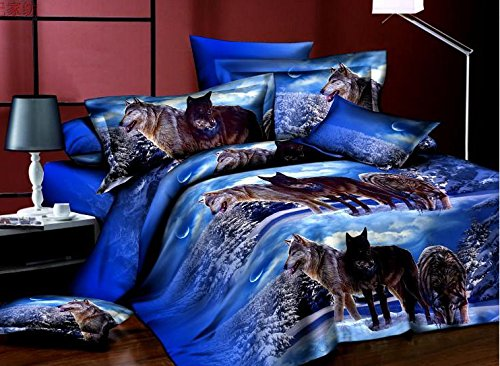 Ammybeddings 4 Piece Blue Comforter Cover with 1 Sheet and 2 Pillow Shams,Adorable 3D Wolf Bedding Sets,Twin/Full/Queen,Blue,Soft Duvet Cover Set Stylish Bedroom Decor (Full, Blue)