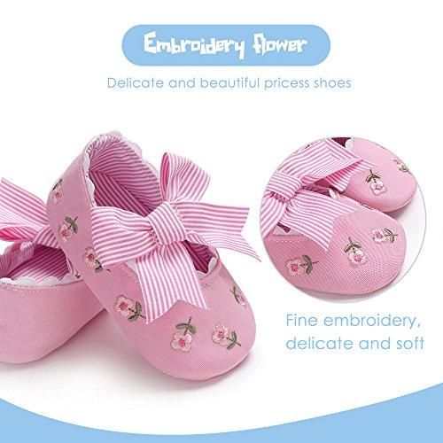 Prewalker Fleur Blanc Princesse slip Chaussures Broderie Semelle Cm 13 Tissus Bowknot Doux Bébé Non Filles Rose Decdeal 4PxqORw84