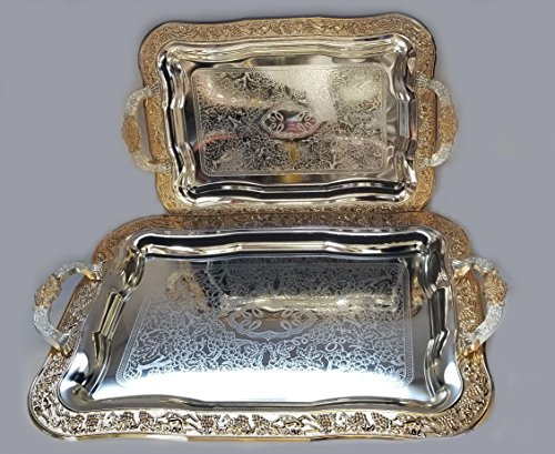 Luxury Linen Beautiful Decorative 2 Pieces Stainless Steel Tea & Coffee Serving Tray Gold/Silver Plated Serving Tray Rectangle Platter Glossy, Party Serving with Metal Handles New # 5656