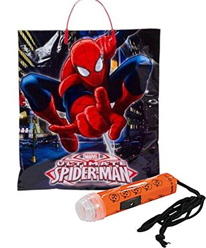 """Spider-Man"" Happy Halloween Trick or Treat Candy Loot Bag!! Plus Bonus ""Safety First"" Mini Halloween Flashlight Necklace!"