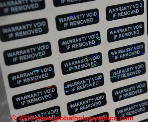 100 .75 X .25 Inch Small Black Tinted High Security Tamper Evident Warranty Void Labels/Stickers