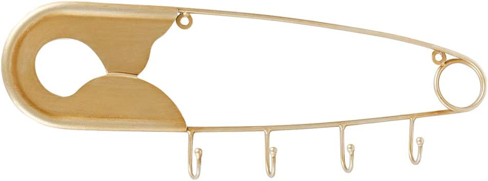 Retrome Gold Coat Hooks Wall Mounted - Unique Decorative Heavy Duty Safety Pin Coat Rack Wall Mounted - Modern Metal Hanging Hook Rack for Key Hat Backpack Leash - 16""