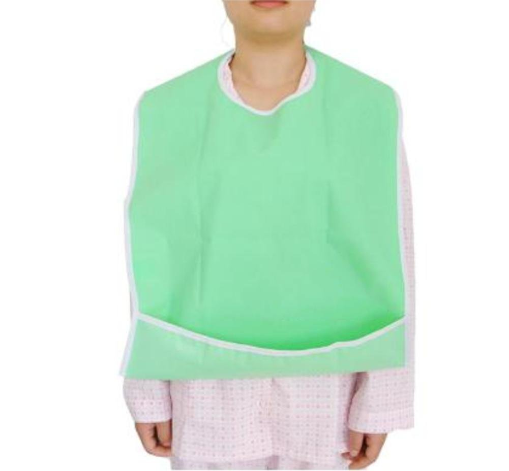 LUCKYYAN PVC Waterproof Adult Bib (2-Pack,17.71x25.59 inches) - Reusable - Washable - Easy to dry , green