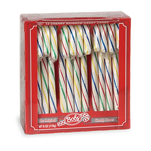 Bobs Cherry Rainbow Candy Canes, 12 Cane Box, Pack of 48 by Bob's Red & White