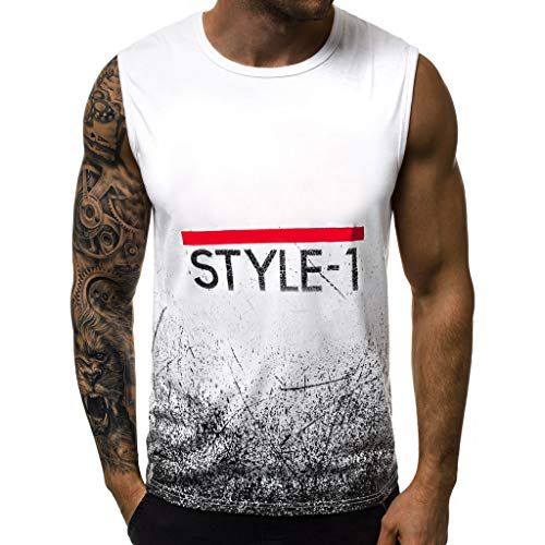 iHPH7 Tank Top Athletic Quick-Dry Running Shirt Letter Printed Sports Vest Striped Splice Large Open-Forked Male Vest Men (L,1- White) -