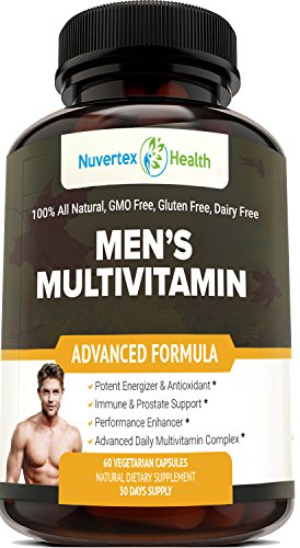 Men's Daily Multivitamin Supplement - Vitamins A C D E B1 B2 B3 B5 B6 B12, Saw Palmetto, Zinc, Selenium, Spirulina, Calcium, Lutein, Magnesium, Green Tea, Biotin. Natural Non-Gmo for Men 60 Capsules
