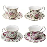 Gracie China by Coastline Imports Rose Chintz 3-Ounce Porcelain Espresso Cup and Saucer with Gold Trim, Set of 4