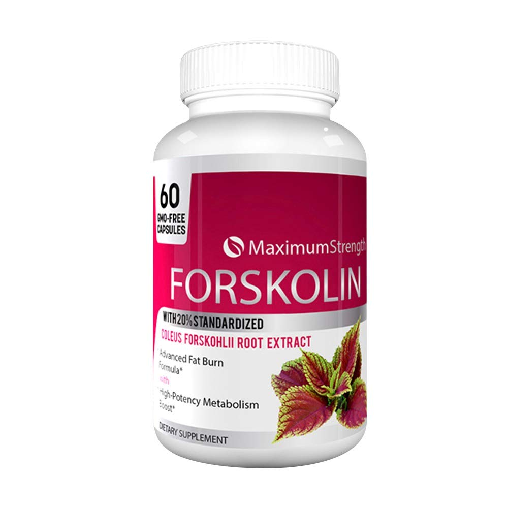 Maximum Strength Forskolin with 20% Standardized for Weight Loss - Max Strength Forskolin Extract with Advanced Fat Burn Formula 60 Capsules (1 Bottle) by Max Strength