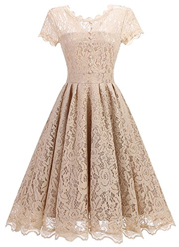 Tecrio Women Elegant Vintage Floral Lace Capshoulder Cocktail Party Swing Dress (Small, Off-White)