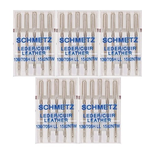 25 Schmetz Leather Sewing Machine Needles 130/705H LL 15x2NTW Size 110/18 ()