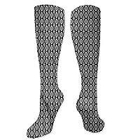 Pattern Socks,Socks For Women,Women Casual,Socks Black And White Zig Zag Lattice