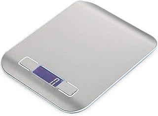 HT-2012 Bilancia digitale da cucina portatile Bilancia elettronica da cucina con display LCD in acciaio inossidabile 5000g / 1g - Metallo bianco