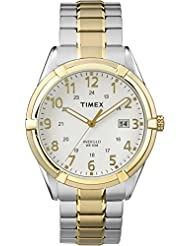 Timex TW2P89300GP Men's Classic White Dial and Two Tone Stainless Steel Expansion Band Watch