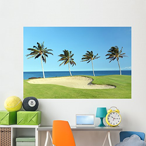 Wallmonkeys WM46876 Golf Course on Lava Ocean Shore of Kona Island Peel and Stick Wall Decals (72 in W x 48 in H), Colossal