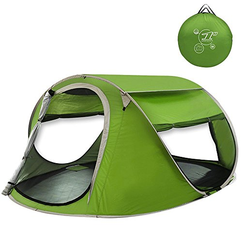 G4Free Large Pop Up Backpacking Camping Hiking Tent Automatic Instant Setup Easy Fold back Shelter Travelling Beach Shelter with ANTI-UV Coating for 2-3 person(Green)