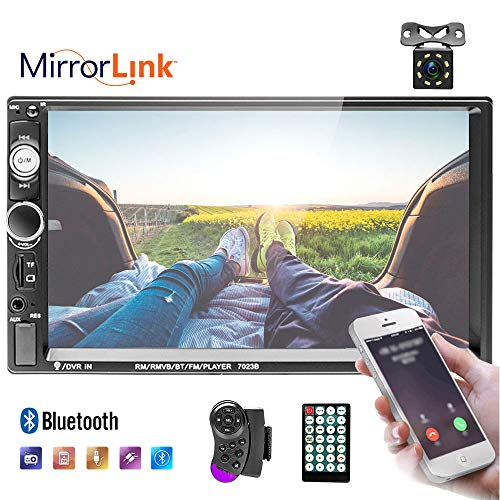 Double Din Car Stereo 7 inch Touch Screen 2 Din Car Radio with Bluetooth FM, MP5 Player with USB/SD/TF/AUX Input Mirror Link for Android/iOS + Backup Camera/Steering Wheel Remote Control
