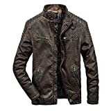 iYYVV Mens Vintage Autumn Winter Coat Casual Pocket Zipper Distressed Leather Jacket