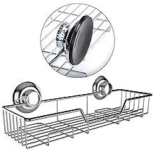 Gecko-Loc Shampoo Conditioner Holder Shower Caddy Wide Storage Basket Shelf Tray Organizer Stainless Steel w Vacuum Suction Cups - Chrome