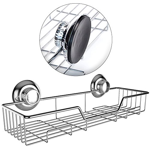 Gecko-Loc Shampoo Conditioner Holder Shower Caddy Wide Storage Basket and Shelf Stainless Steel w Vacuum Suction Cup - Chrome