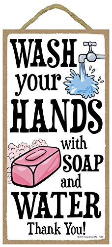 Your Hands with Soap and Water Thank You - 5 x 10 inch Hanging Bathroom Decor, Wall Art, Decorative Wood Sign Home Decor ()