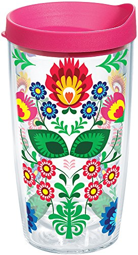 Tervis 1177238 Folk Heritage Tumbler with Wrap and Fuchsia Lid 16oz, Clear ()