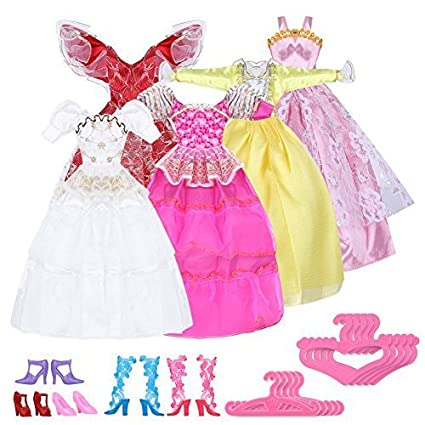 15 Items=5 Mini Cute Handmade Dresses Clothes 5 Shoes 5 hangers For Barbie Doll
