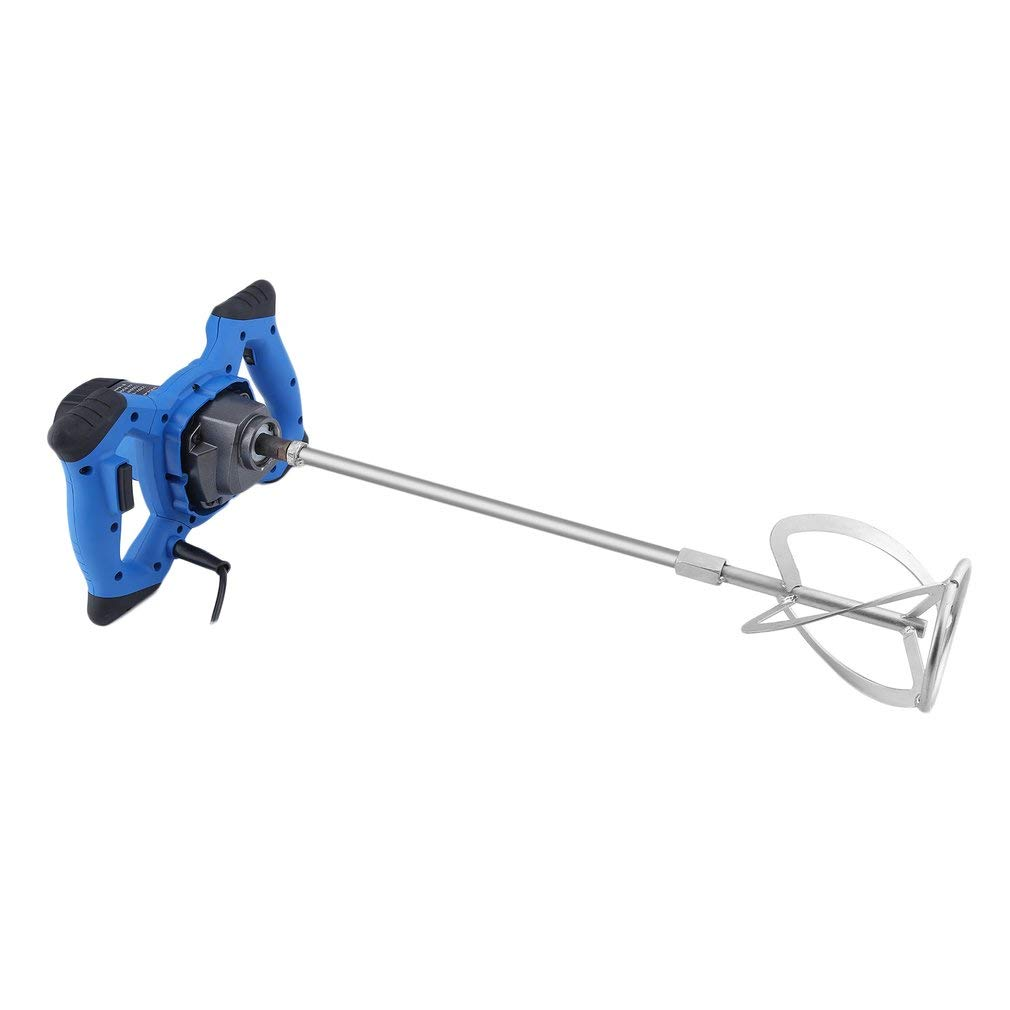 1200W Electric Hand Mixer Aluminium Alloy Mixer Big Mixing Capacity 220V Industrial Single Paddle Stirring Putty Powder Mixer Agitator Industrial Liquid Mixer-Blue Holaroses