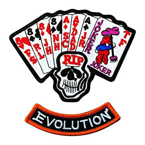 (Ace Joker Dead Man's Hand Evolution Harley Marlboro Man Movie Patch [2PC)