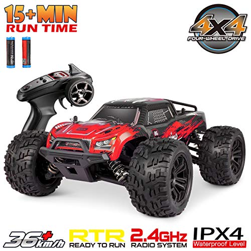 Hosim 1:16 Scale 4WD 36+ kmh High Speed RC Cars Large Size Remote Control Car Trucks 4x4 Off Road Vehicle Electric Monster Truck - All Terrain Waterproof Toys Trucks Cars for Kids and Adults(Red)