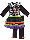 Rare Editions Girls Halloween Witch Hat Dress Outfit Leggings, Black (6)